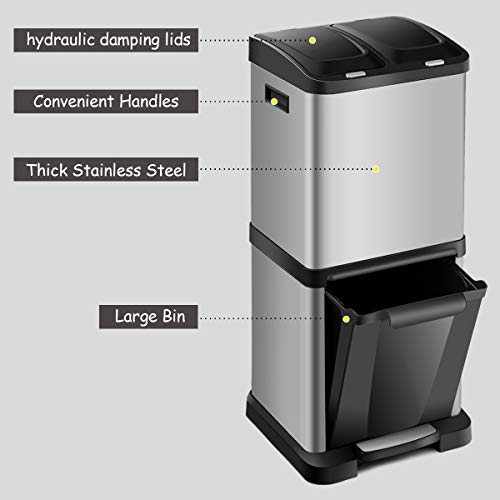 Casart Recycling Pedal Bin 32l Capacity Stainless Steel Trash Bin With 3 Compartments Home Kitchen Restaurant Garbage Zotiel